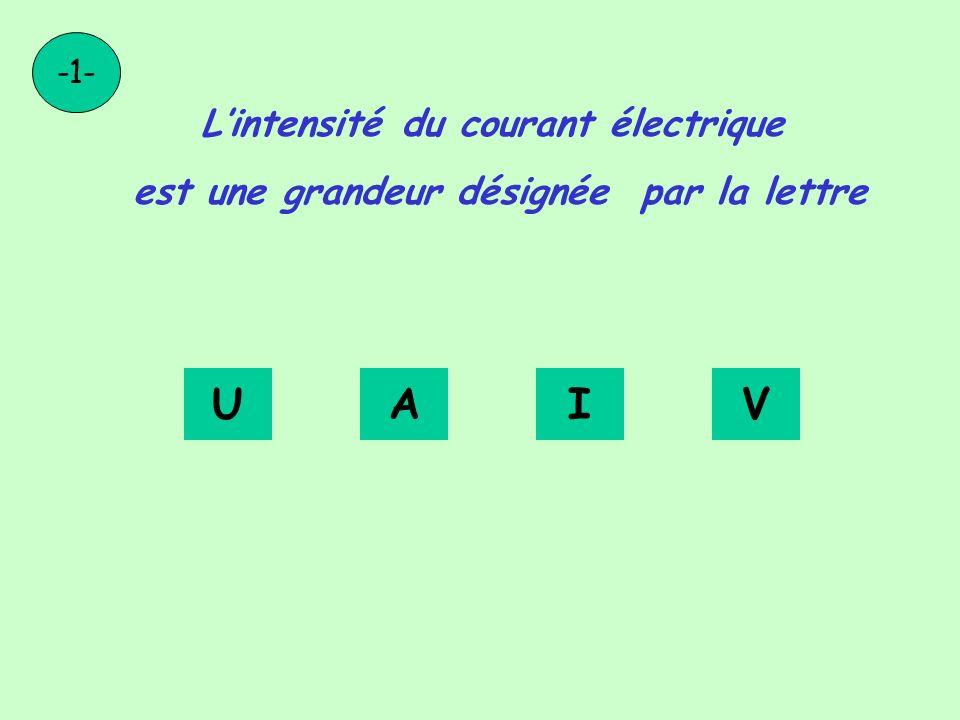 U A I V L'intensité du courant électrique