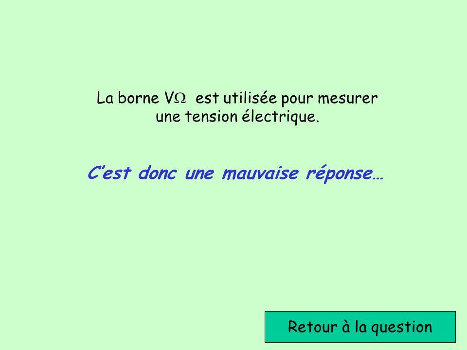 La borne V est utilisée pour mesurer une tension électrique.