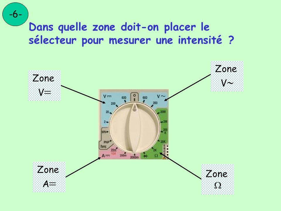 -6- Dans quelle zone doit-on placer le sélecteur pour mesurer une intensité Zone. V Zone. V