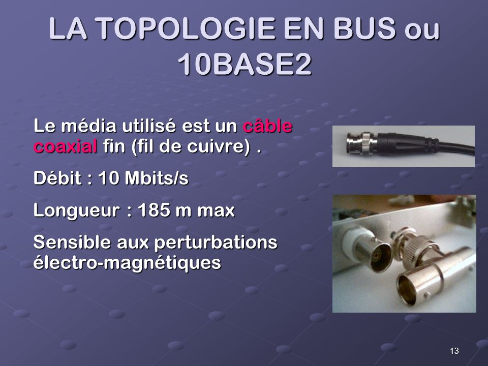 LA TOPOLOGIE EN BUS ou 10BASE2