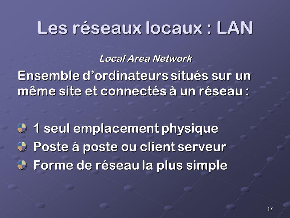 Les réseaux locaux : LAN