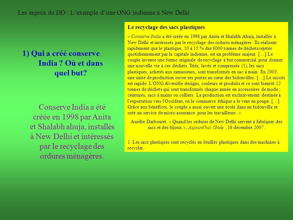 Les enjeux du DD : L'exemple d'une ONG indienne à New Delhi