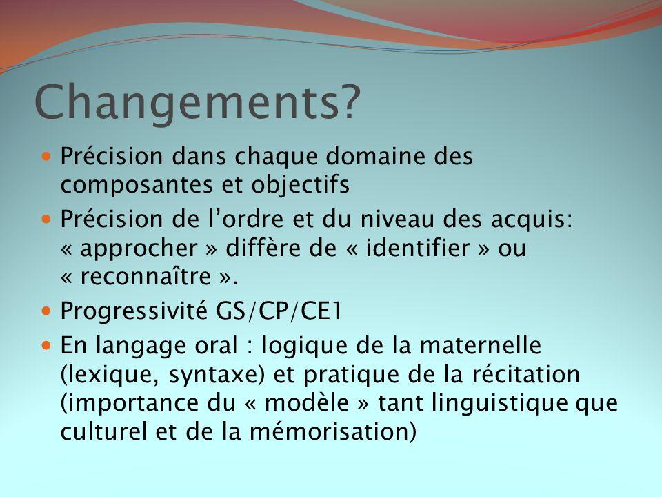 Changements Précision dans chaque domaine des composantes et objectifs.
