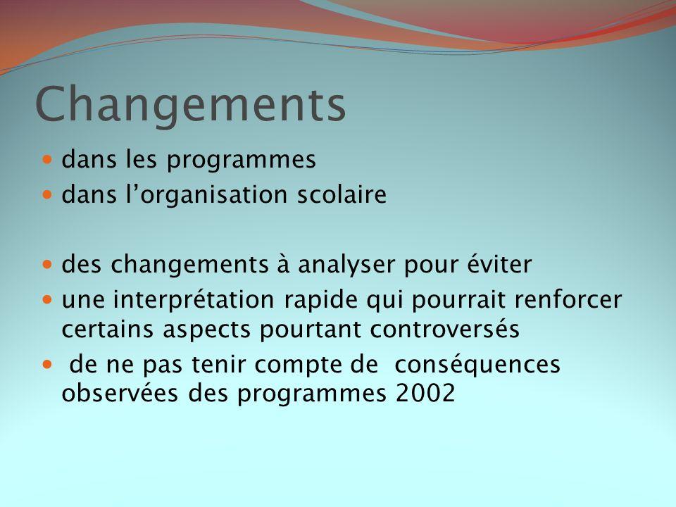 Changements dans les programmes dans l'organisation scolaire
