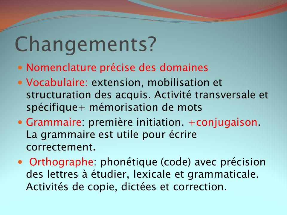 Changements Nomenclature précise des domaines