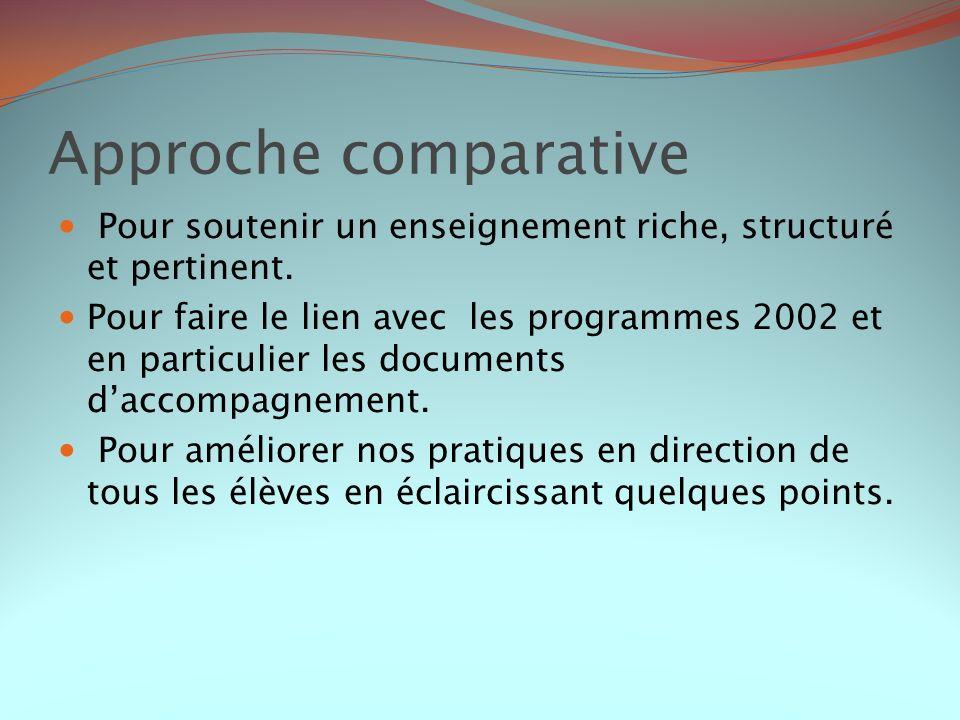 Approche comparativePour soutenir un enseignement riche, structuré et pertinent.