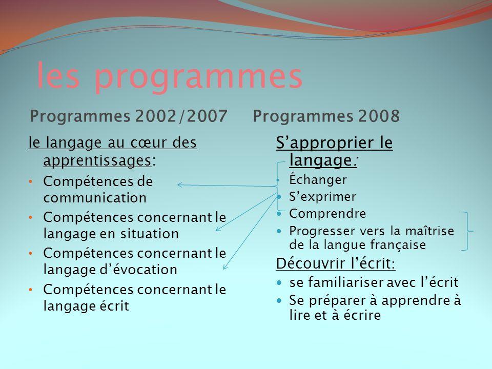 les programmes Programmes 2002/2007 Programmes 2008