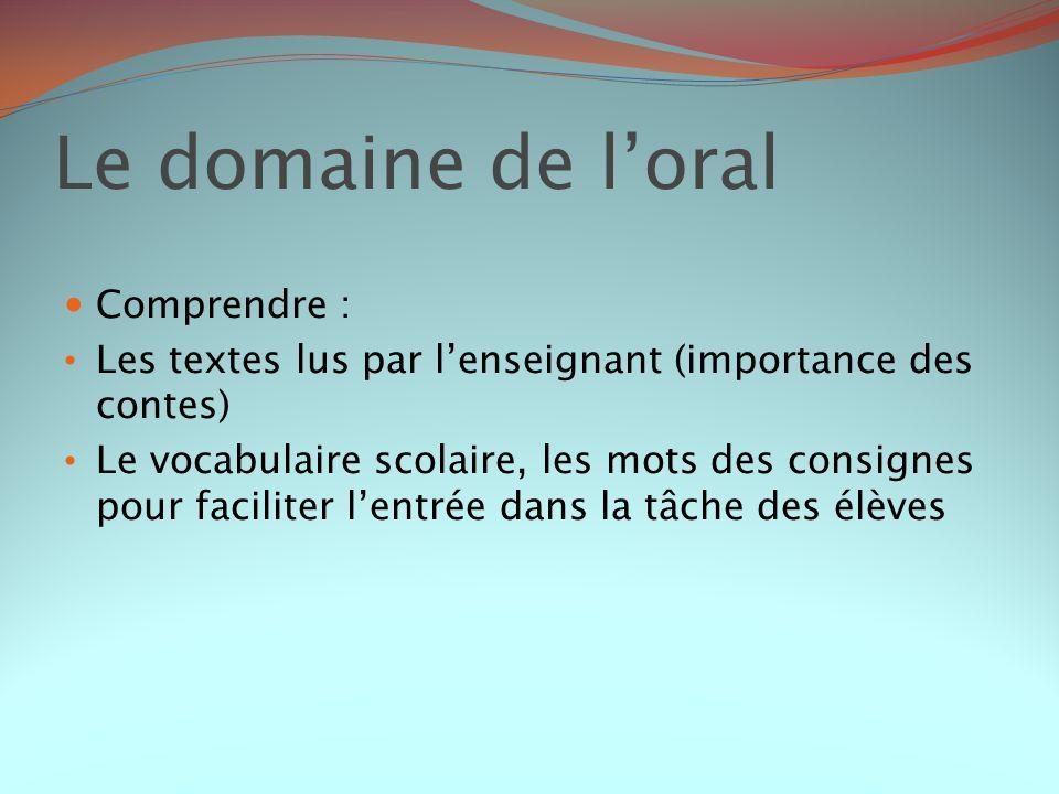 Le domaine de l'oral Comprendre :