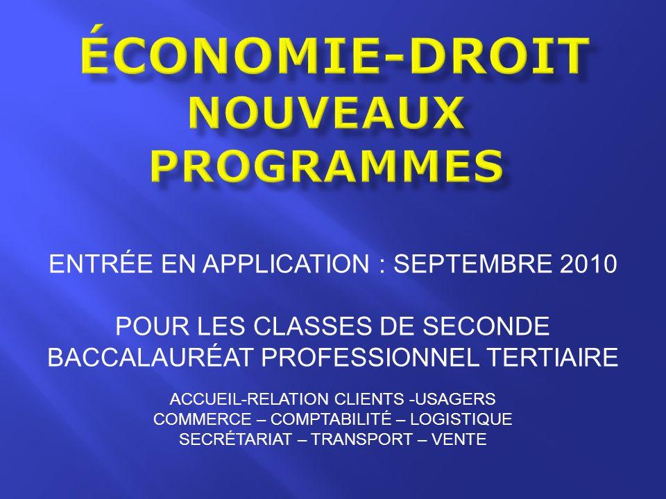 économie-droit Nouveaux programmes