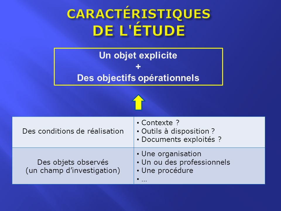 CARACTÉRISTIQUES DE L ÉTUDE