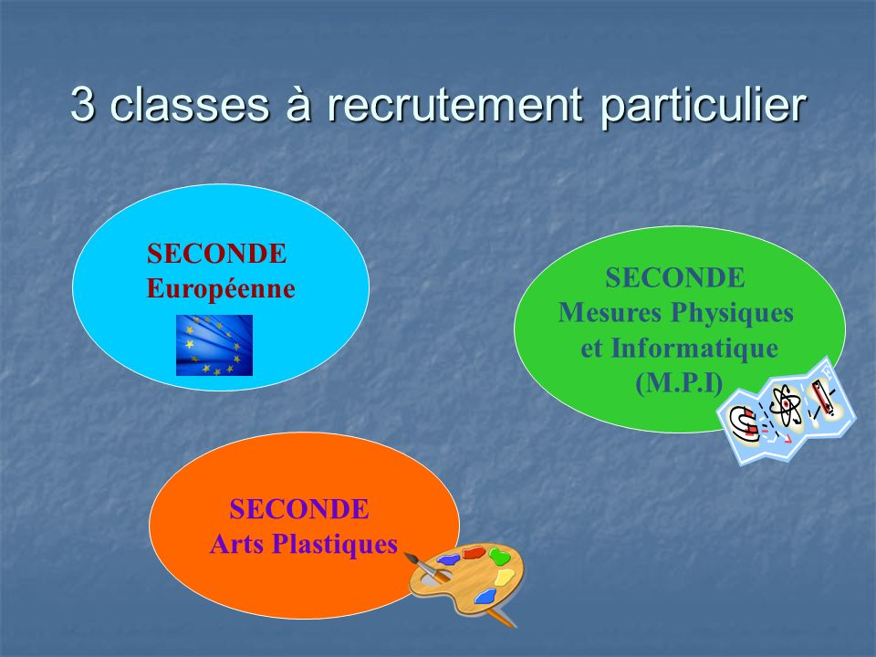 3 classes à recrutement particulier