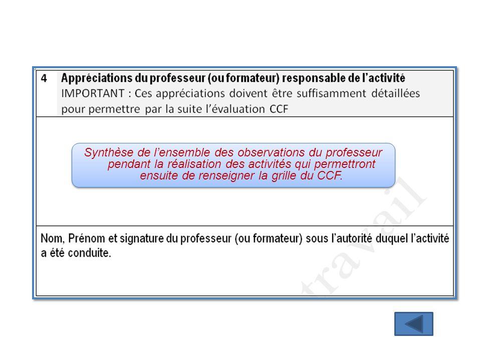 Synthèse de l'ensemble des observations du professeur pendant la réalisation des activités qui permettront ensuite de renseigner la grille du CCF.