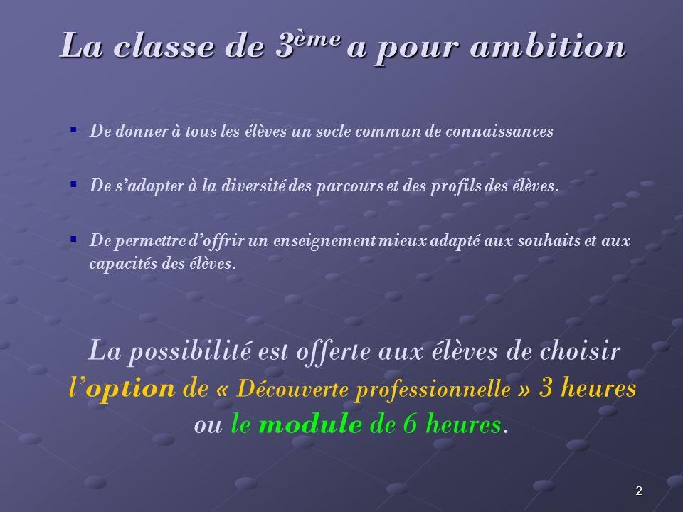 La classe de 3ème a pour ambition