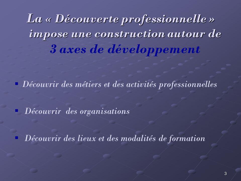 La « Découverte professionnelle » impose une construction autour de 3 axes de développement