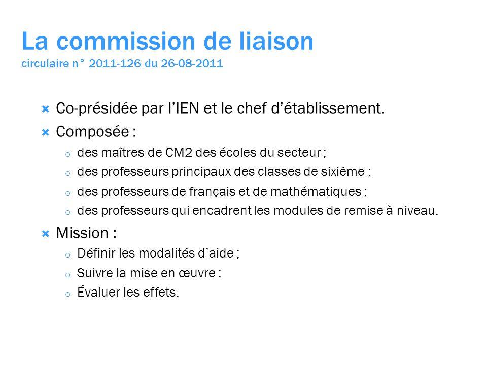 La commission de liaison circulaire n° 2011-126 du 26-08-2011