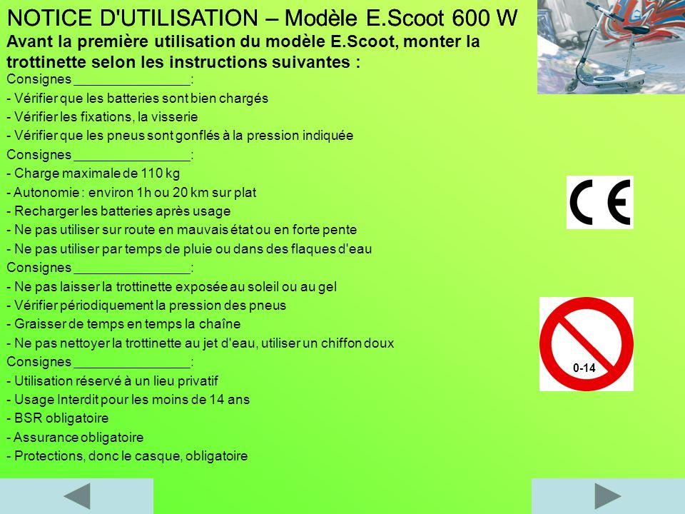 NOTICE D UTILISATION – Modèle E.Scoot 600 W