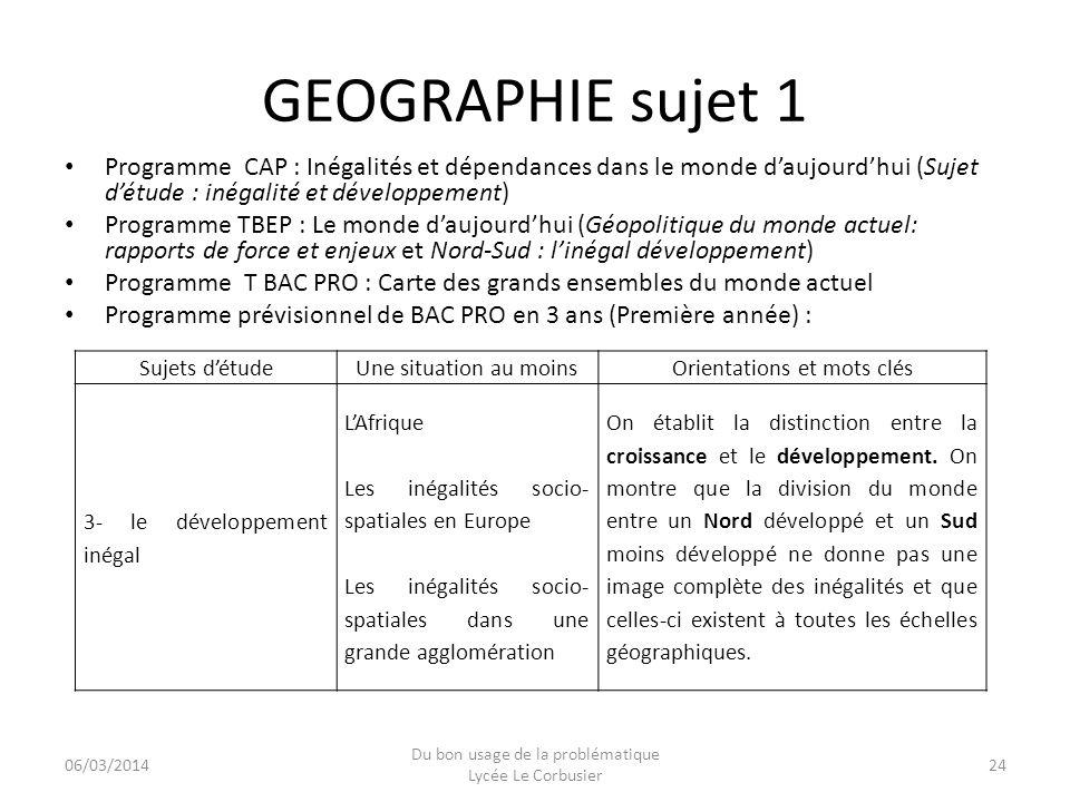 GEOGRAPHIE sujet 1 Programme CAP : Inégalités et dépendances dans le monde d'aujourd'hui (Sujet d'étude : inégalité et développement)