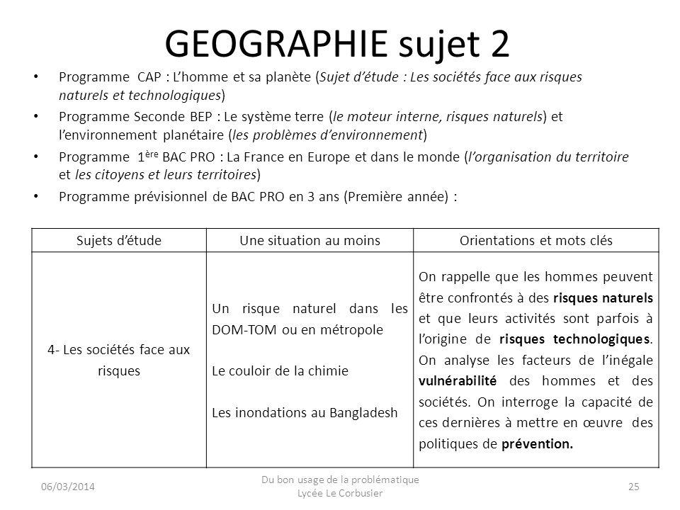 GEOGRAPHIE sujet 2 Programme CAP : L'homme et sa planète (Sujet d'étude : Les sociétés face aux risques naturels et technologiques)