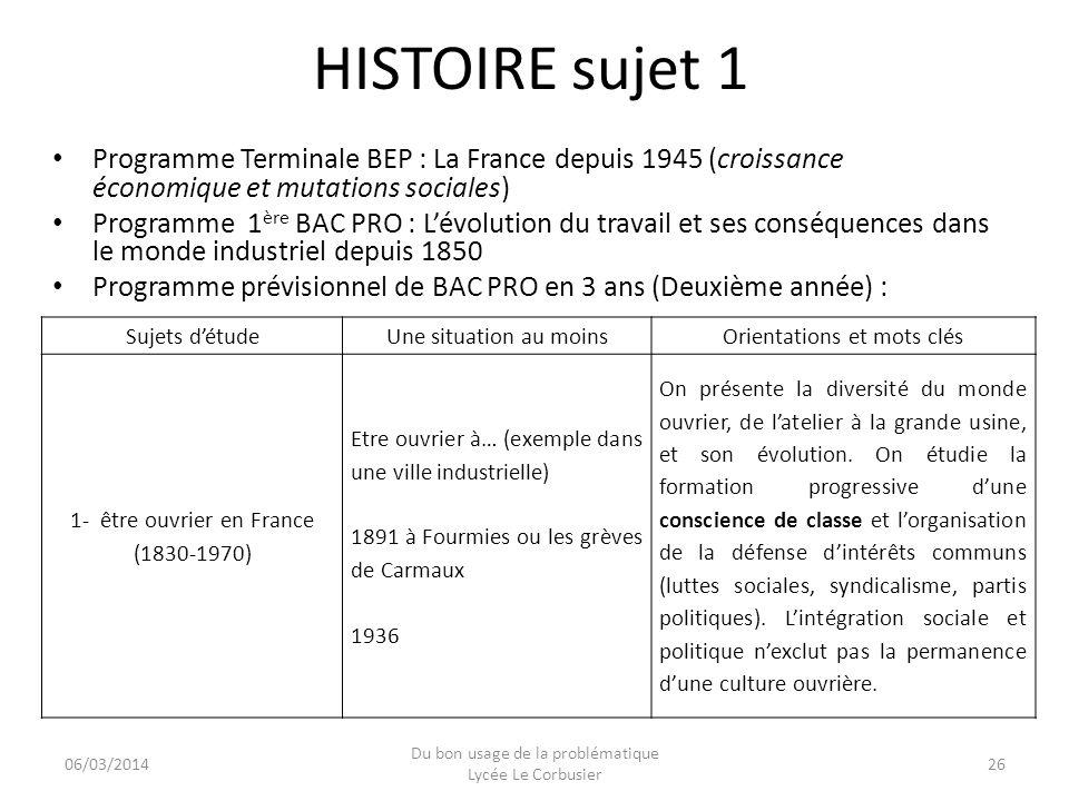 HISTOIRE sujet 1 Programme Terminale BEP : La France depuis 1945 (croissance économique et mutations sociales)