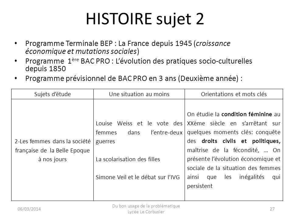 HISTOIRE sujet 2 Programme Terminale BEP : La France depuis 1945 (croissance économique et mutations sociales)