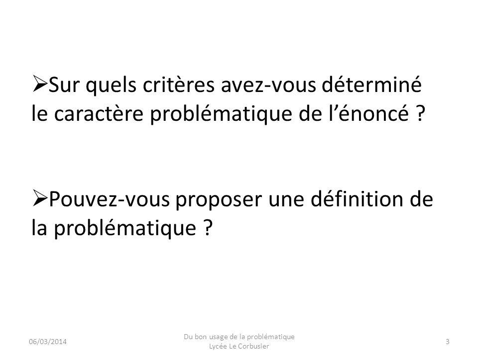 Du bon usage de la problématique Lycée Le Corbusier