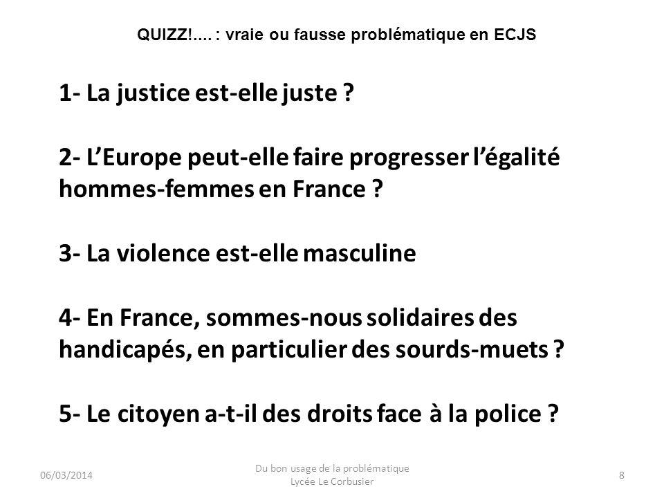QUIZZ!.... : vraie ou fausse problématique en ECJS
