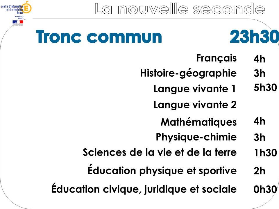 La nouvelle seconde Tronc commun 23h30 Tronc commun 23h30