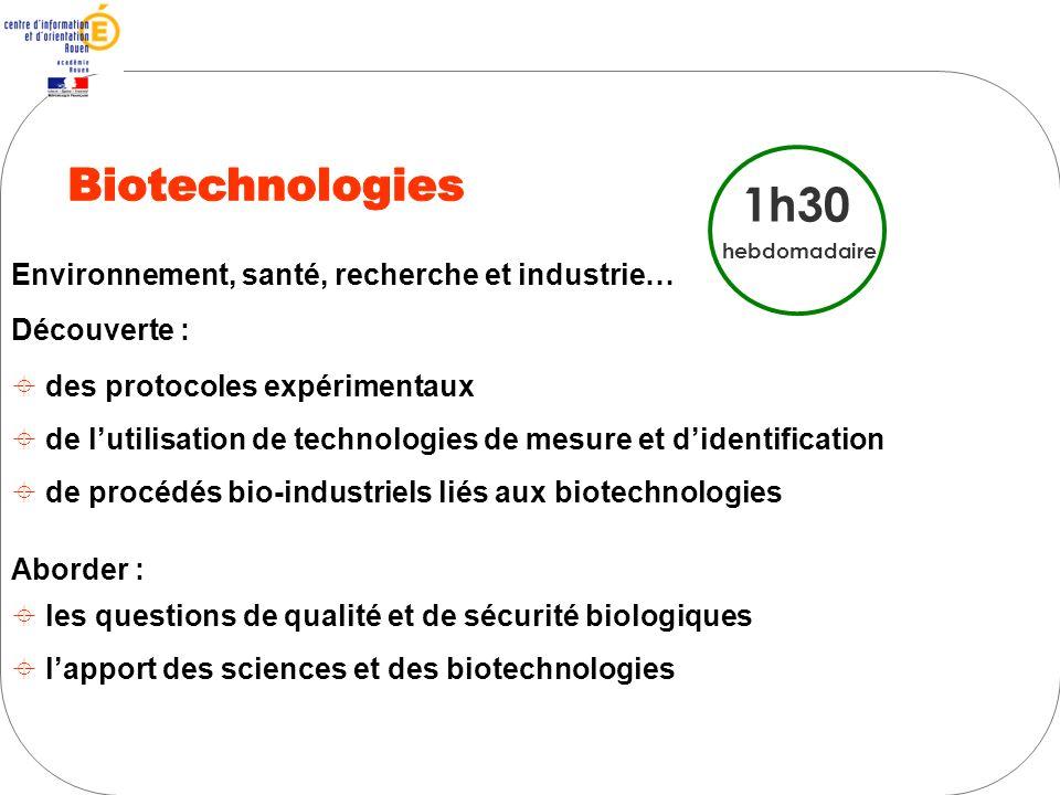 Biotechnologies 1h30 Environnement, santé, recherche et industrie…
