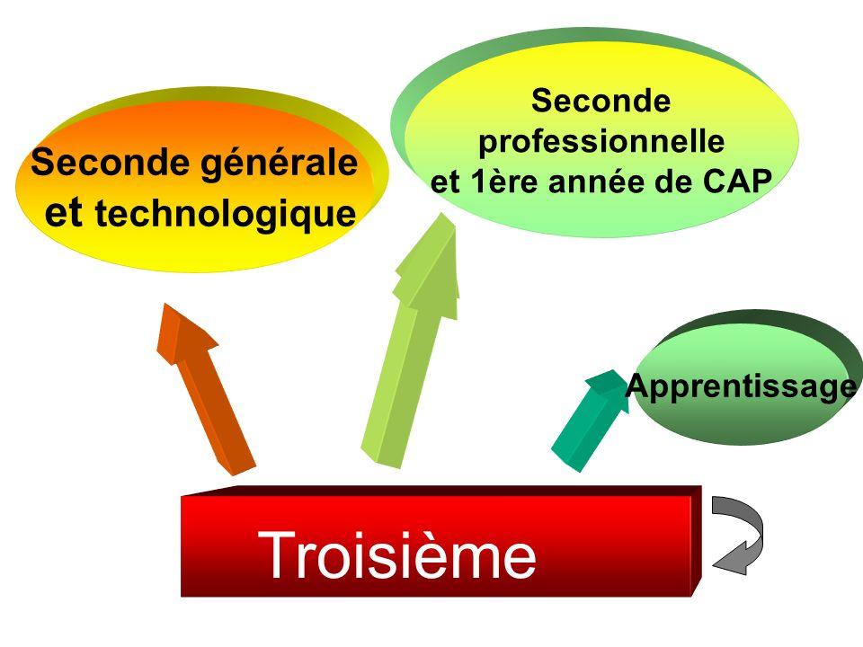 Troisième et technologique Seconde générale Seconde professionnelle