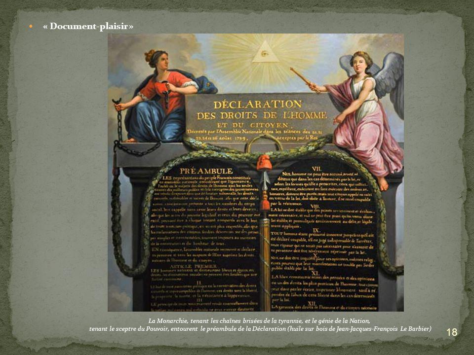 « Document-plaisir » La Monarchie, tenant les chaînes brisées de la tyrannie, et le génie de la Nation,