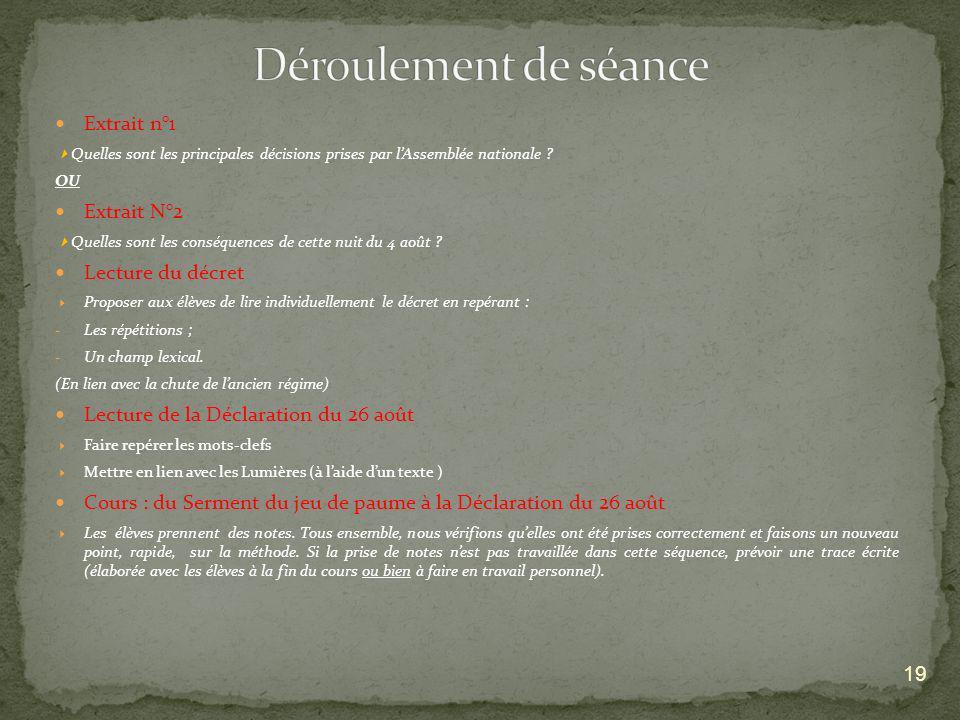 Déroulement de séance Extrait n°1 Extrait N°2 Lecture du décret