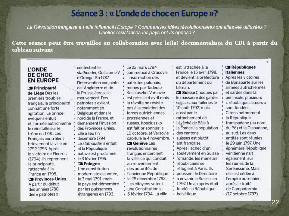 Séance 3 : « L'onde de choc en Europe »