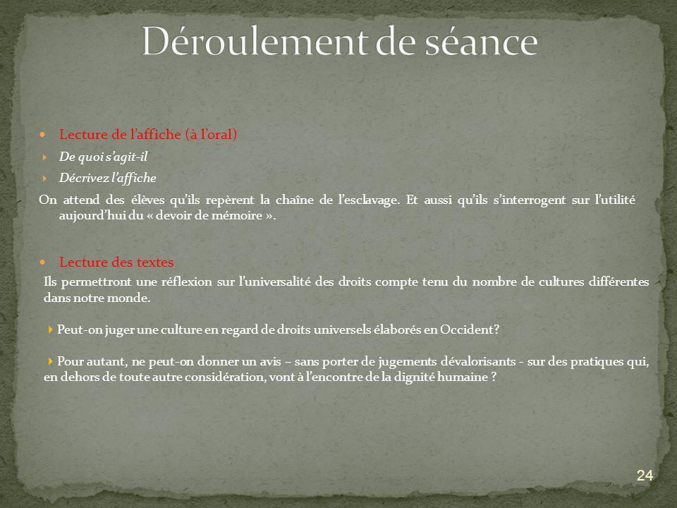 Déroulement de séance Lecture de l'affiche (à l'oral)