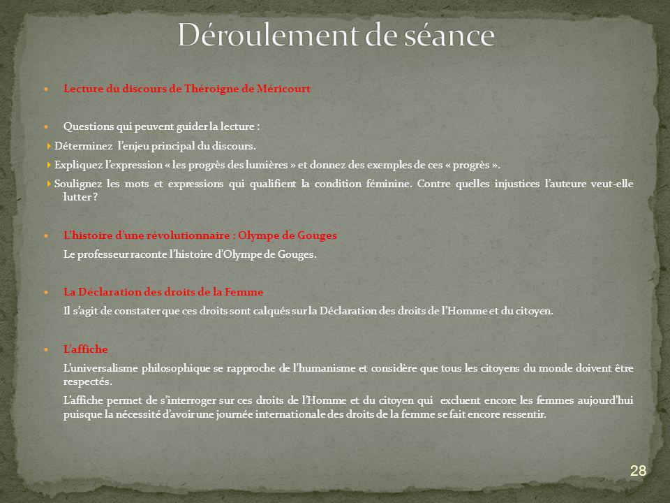 Déroulement de séance Lecture du discours de Théroigne de Méricourt