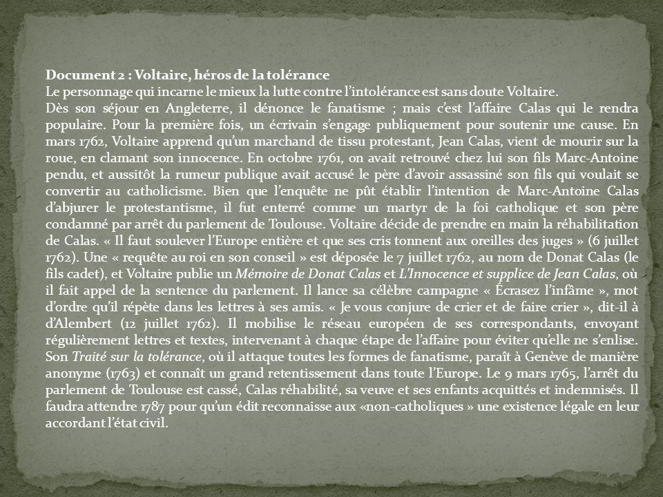 Document 2 : Voltaire, héros de la tolérance