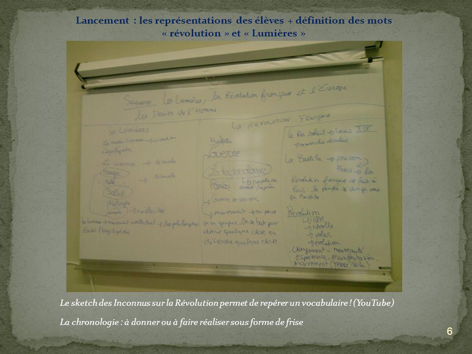 Lancement : les représentations des élèves + définition des mots « révolution » et « Lumières »