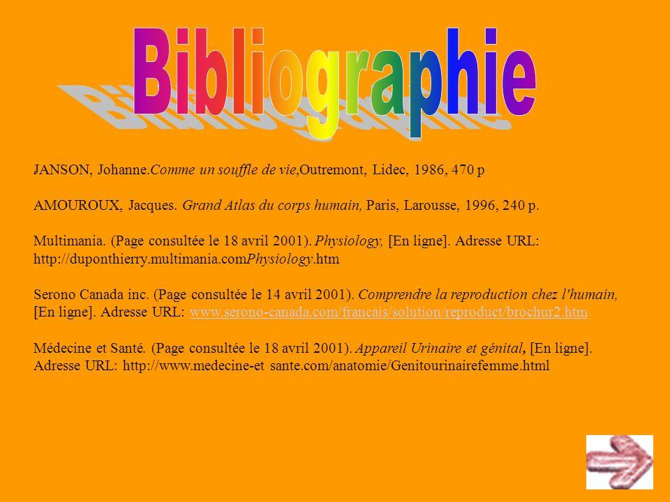 Bibliographie . JANSON, Johanne.Comme un souffle de vie,Outremont, Lidec, 1986, 470 p.