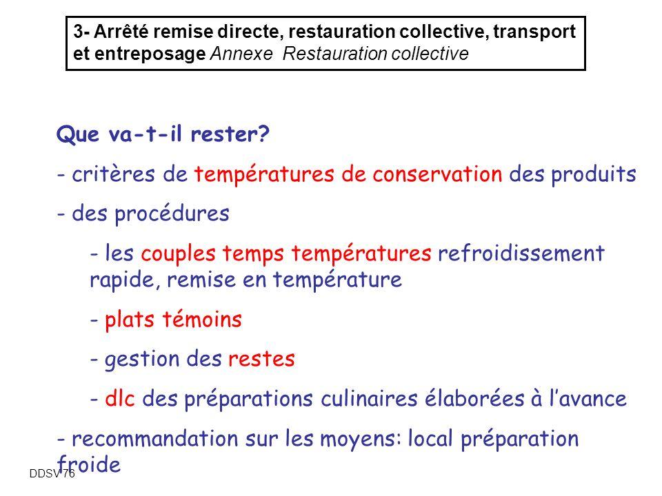 critères de températures de conservation des produits des procédures