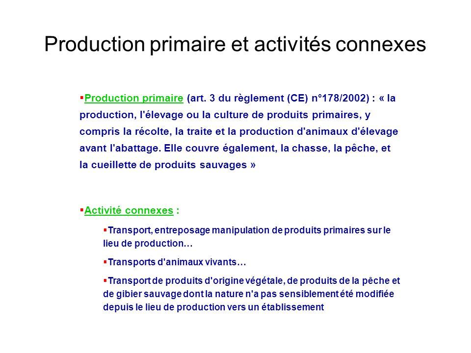 Production primaire et activités connexes
