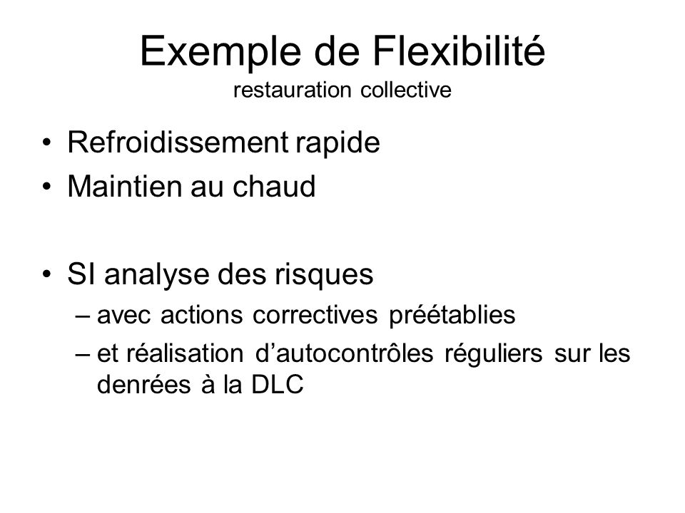 Exemple de Flexibilité restauration collective