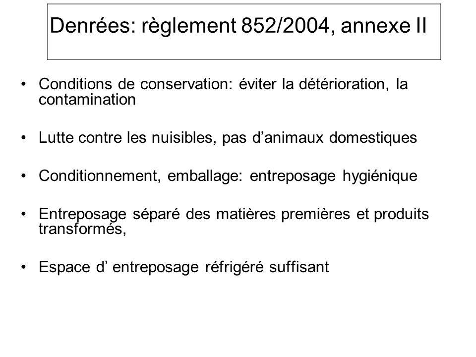 Denrées: règlement 852/2004, annexe II