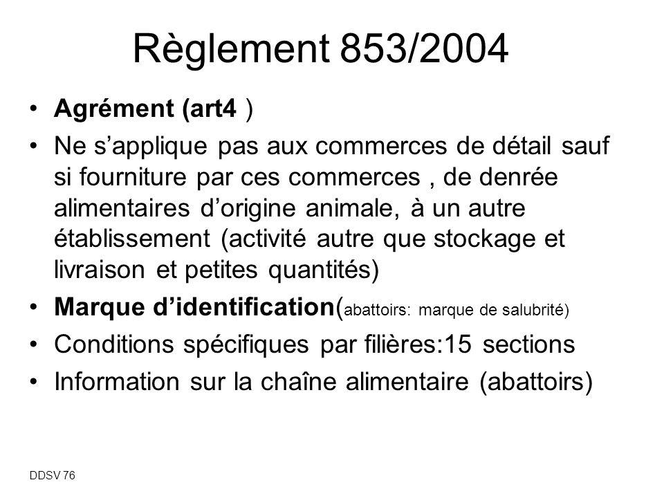 Règlement 853/2004 Agrément (art4 )