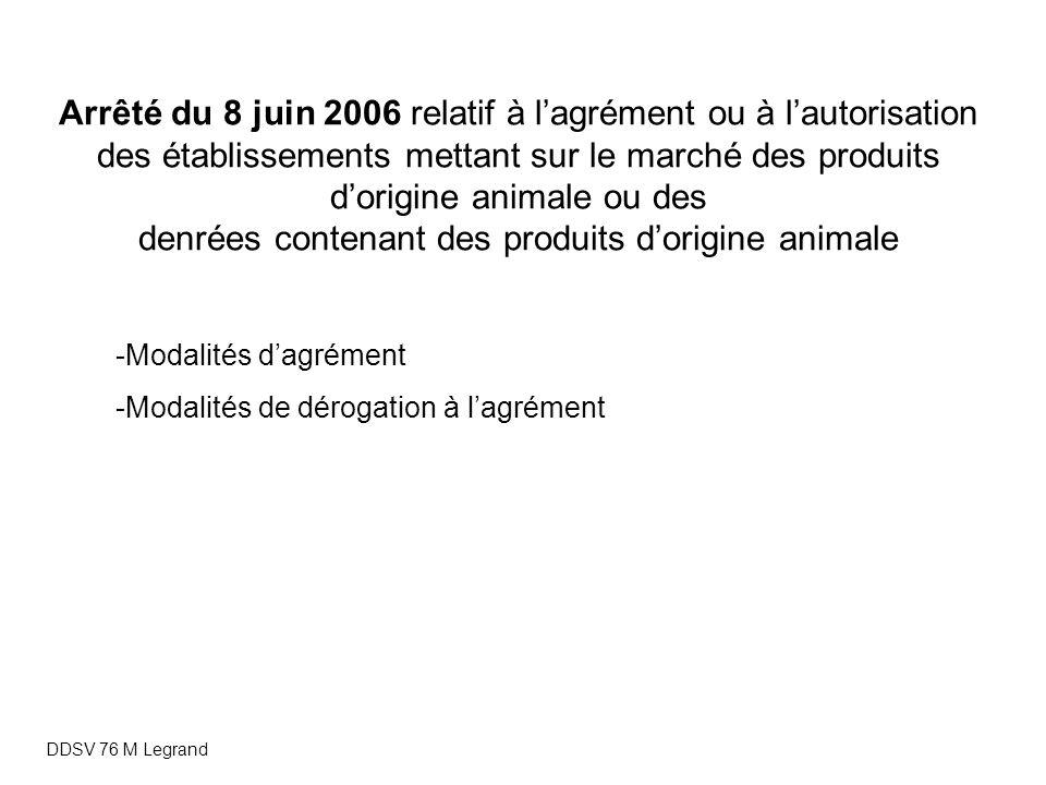 Arrêté du 8 juin 2006 relatif à l'agrément ou à l'autorisation des établissements mettant sur le marché des produits d'origine animale ou des denrées contenant des produits d'origine animale