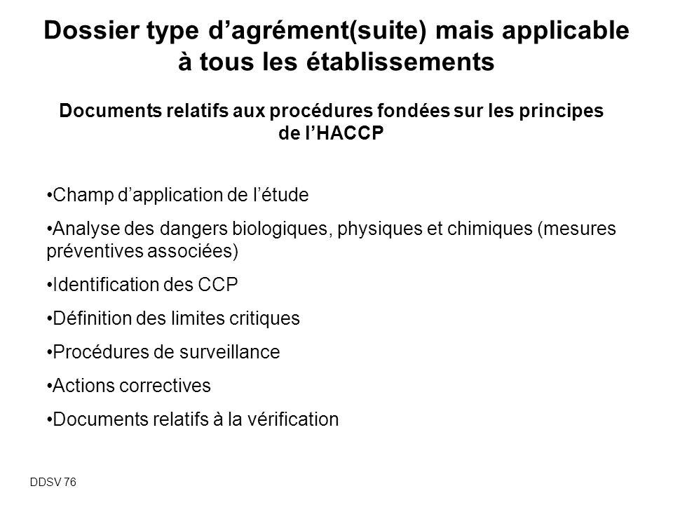 Documents relatifs aux procédures fondées sur les principes de l'HACCP