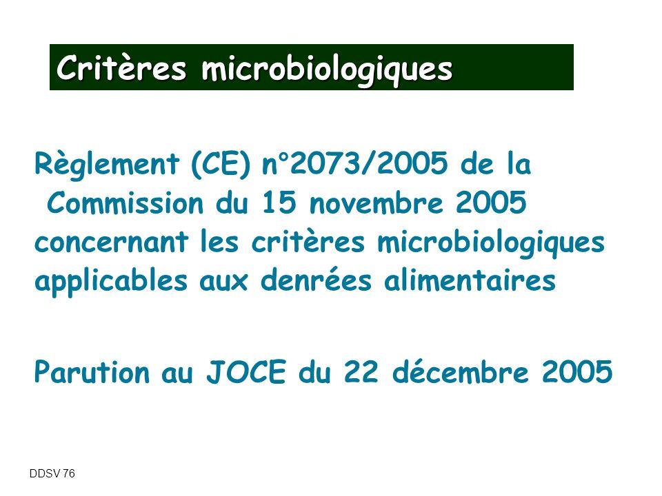 Critères microbiologiques