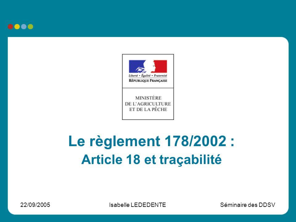 Article 18 et traçabilité