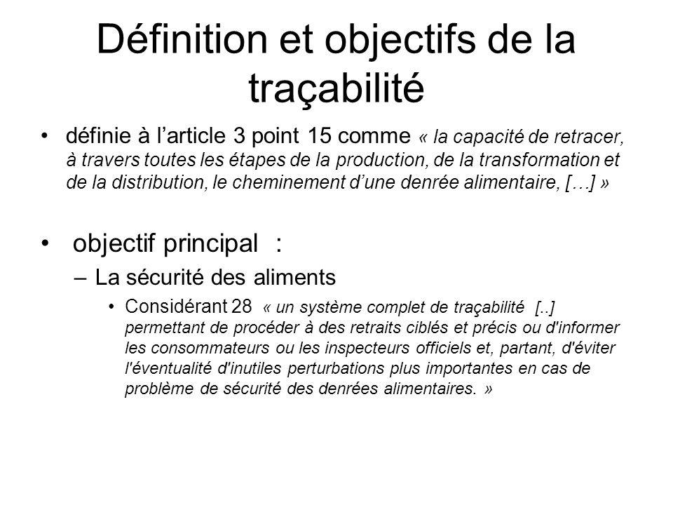 Définition et objectifs de la traçabilité