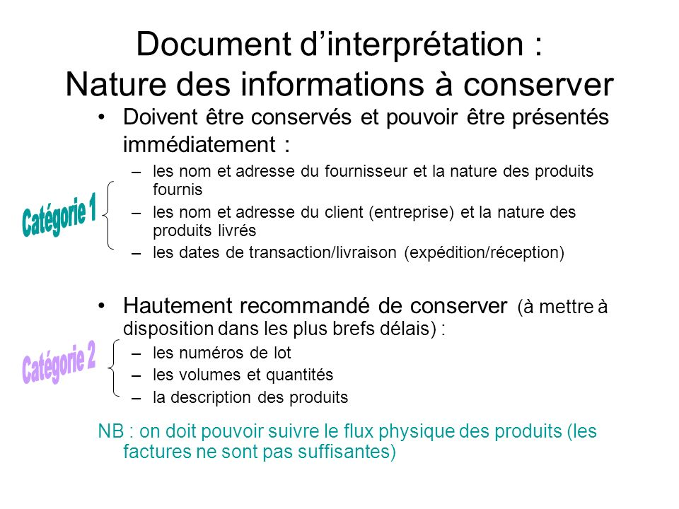 Document d'interprétation : Nature des informations à conserver