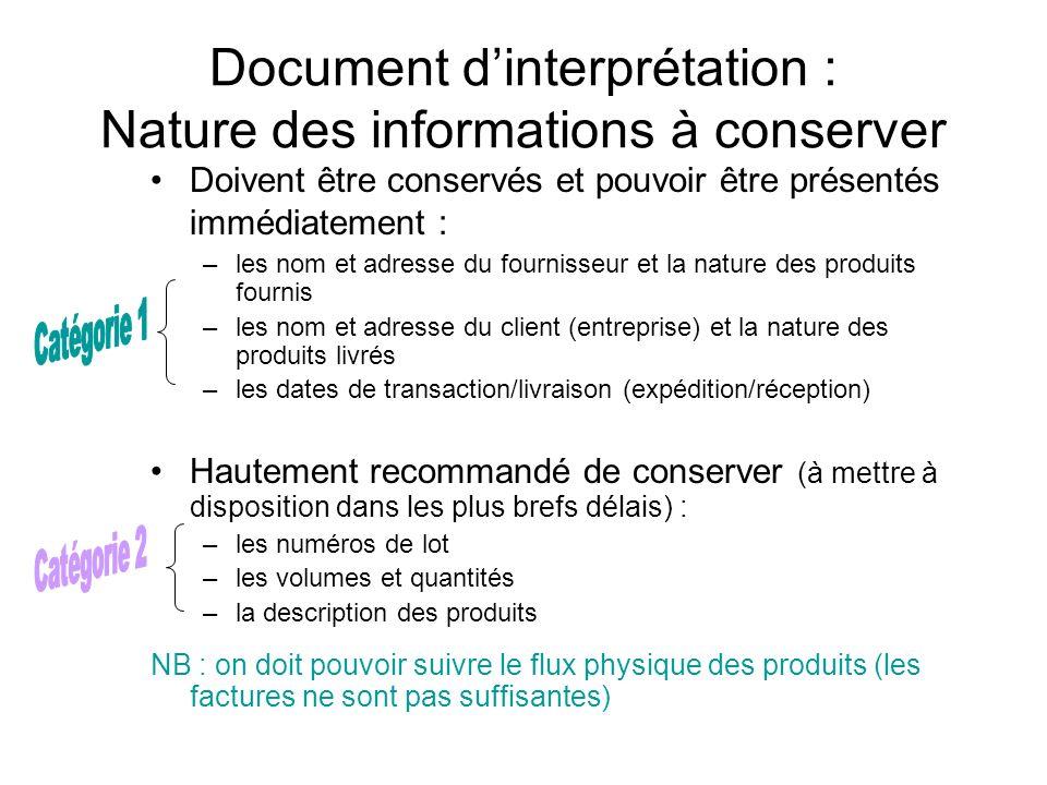 Document d'interprétation : Nature des informations à conserver
