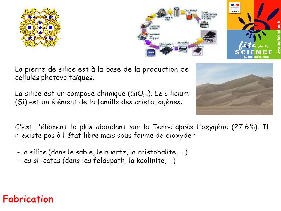La pierre de silice est à la base de la production de cellules photovoltaïques.